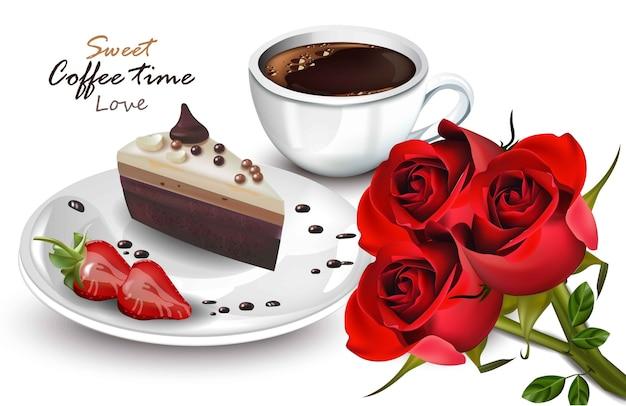Filiżanka kawy i słodkie ciasto plasterek wektor realistyczne. karty kawowe