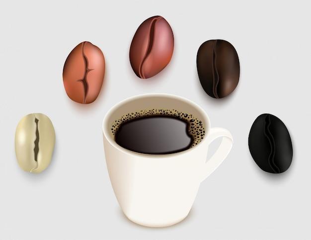 Filiżanka kawy i ziarna kawy wektor 3d realistyczna ilustracja. zielone nieprażone i palone ziarna kawy. bardzo lekki, średni jasnobrązowy średni ciemnobrązowy i ciemnobrązowy stopień pieczenia.
