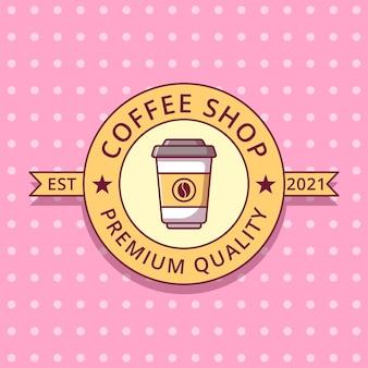 Filiżanka kawy kreskówka logo płaskie odznaka etykiety.