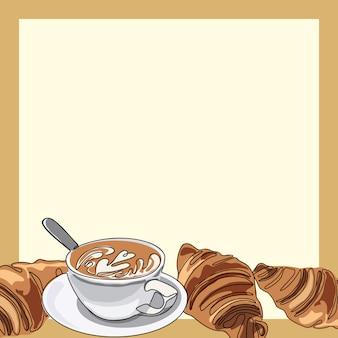 Filiżanka kawy lub cappuccino z rogalikami