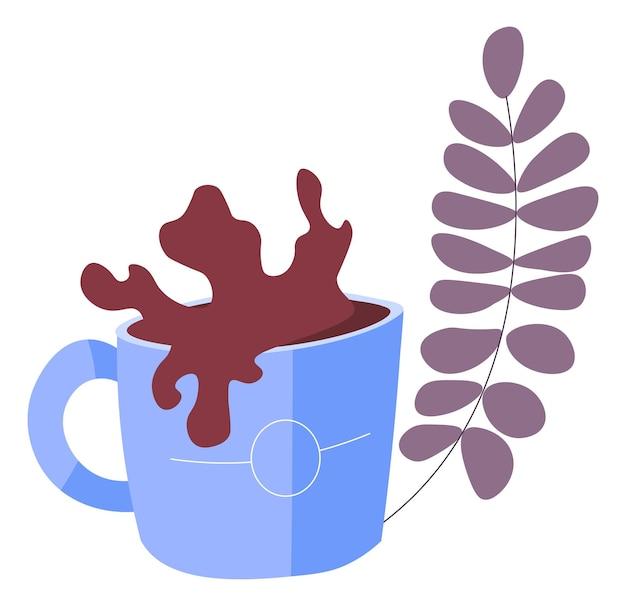 Filiżanka kawy lub gorącej czekolady rozpryskuje wektor