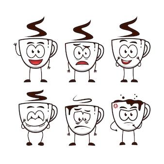 Filiżanka kawy mężczyzna kreskówka zabawny charakter maskotka ilustracja wyrażenie zestaw