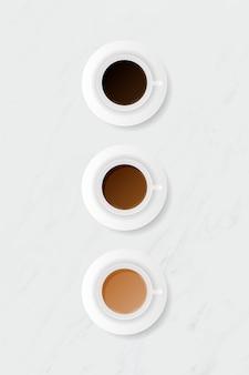 Filiżanka kawy na białym marmurowym tle szablonu wektoru