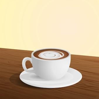 Filiżanka kawy na stołowej realistycznej ilustraci z pustą przestrzenią