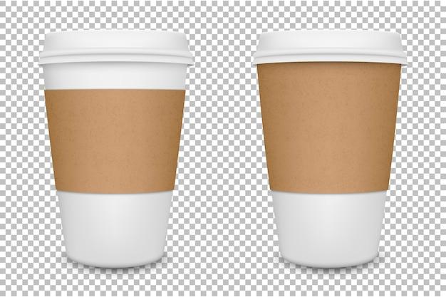 Filiżanka kawy realistyczne pusty papier zestaw na białym tle