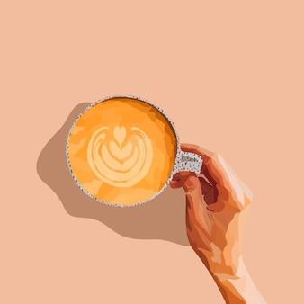 Filiżanka Kawy Trzymając W Ręku. Ilustracja Wektorowa Premium Wektorów