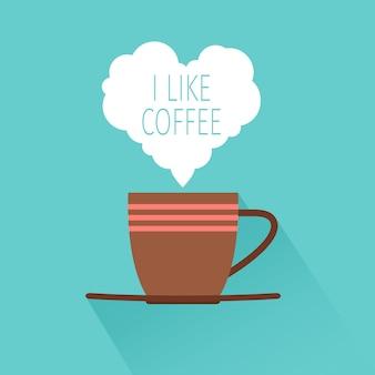 Filiżanka kawy z cieniem i sercem