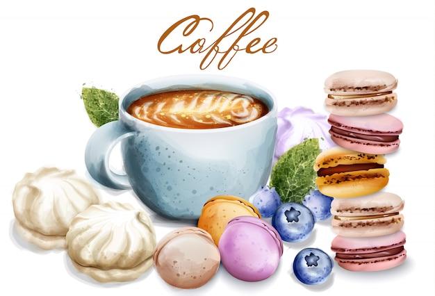 Filiżanka kawy z cukierkami wektorowa akwarela. makaroniki i bezy. desery śniadaniowe. ilustracje w stylu vintage