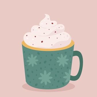 Filiżanka kawy z kremową gorącą czekoladą jesienny i zimowy gorący napój