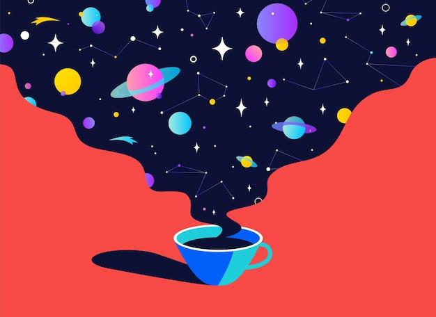 Filiżanka kawy z marzeniami wszechświata, planetą, gwiazdami, kosmosem. nowoczesna płaska ilustracja.