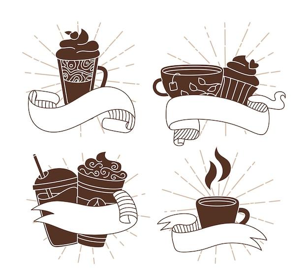 Filiżanka kawy z wstążkami sunburst zestaw ikon kreskówki modny doodle płaski różne kubki na wynos pękające promienie słońca stara taśma hipsterska w stylu vintage gorąca czekolada liniowa herbata inna filiżanka kawy