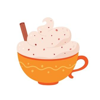 Filiżanka kawy ze śmietanką i cynamonem jesienno-zimowym gorącym napojem