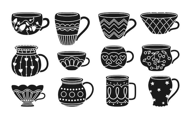 Filiżanka z zestawem czarnych glifów do herbaty lub kawy kolekcja płaskich, nowoczesnych misek ozdobiony inny ornament