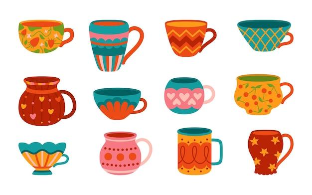 Filiżanka z zestawem do herbaty lub kawy w stylu cartoon, płaska nowoczesna kolekcja.