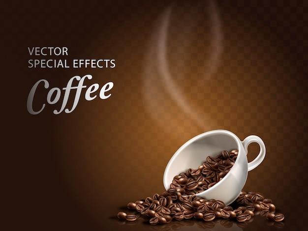 Filiżanka ziaren kawy, przezroczyste tło