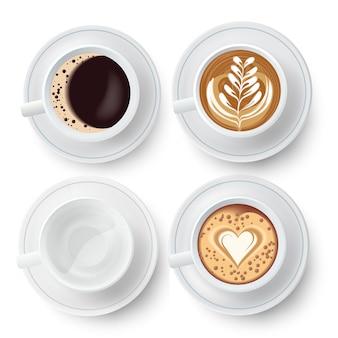 Filiżanki kawy zestaw z latte art