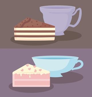 Filiżanki z kawałkami słodkiego ciasta