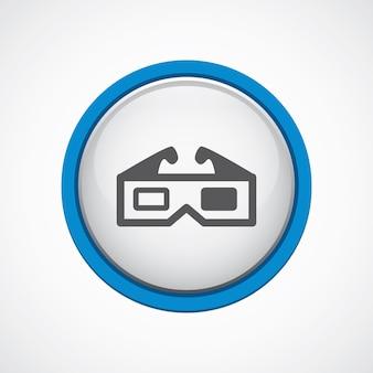 Film 3d błyszczący z niebieską ikoną obrysu, koło, na białym tle