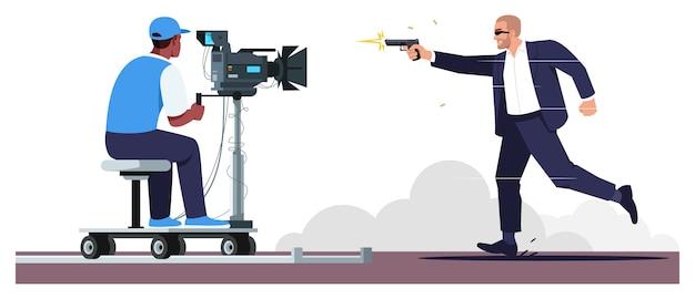 Film akcji w kolorze pół rgb. futurystyczne efekty specjalne. operator na przenoszeniu sprzętu fotograficznego. aktor biegający z pistoletem