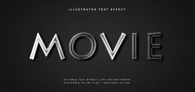Film efekt czcionki elegancki styl tekstu chrome