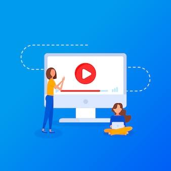 Film instruktażowy. koncepcja edukacja, szkolenia online, studiowanie internetu, płaska konstrukcja