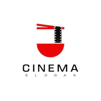 Film z makaronem dla filmu kulinarnego logotemplat