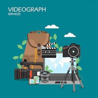 Filmowiec usługi płaski styl projektowania ilustracji