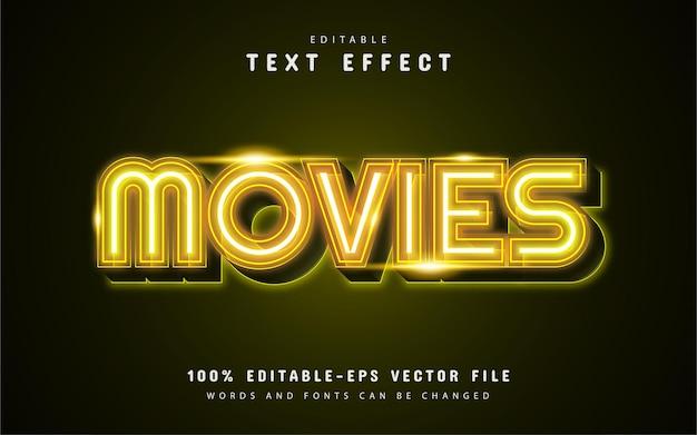 Filmowy żółty efekt tekstu neonowego