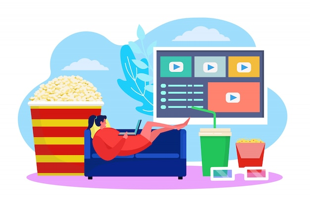 Filmu online pojęcie, ilustracja. kobieta charcater oglądać film w domu na kanapie, technologia rozrywki wideo. telewizja