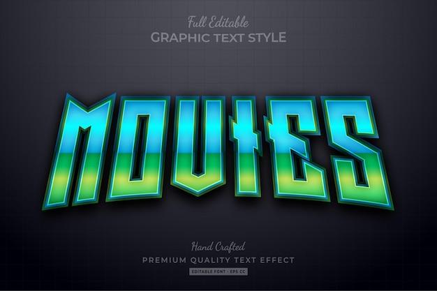 Filmy gradient divide edytowalny styl czcionki efektu tekstowego