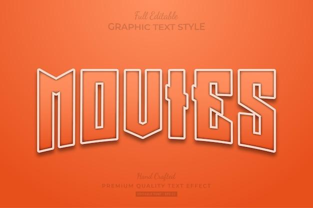 Filmy pomarańczowy styl czcionki edytowalnego efektu tekstowego