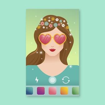 Filtr instagram w okularach w kształcie serca