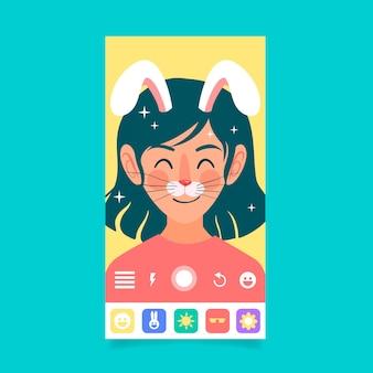 Filtr na instagramie z twarzą królika