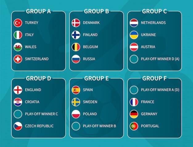 Finał europejskiego turnieju piłki nożnej losowanie 2020. grupa międzynarodowych drużyn piłkarskich z flagą kraju koło. .