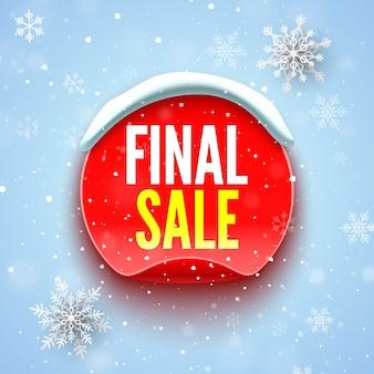 Finałowy baner sprzedaży z czerwoną okrągłą naklejką, czapką śnieżną i płatkami śniegu.
