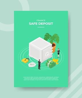 Finanse bezpieczne depozyty ludzie mężczyźni kobiety stojące wokół skarbca bank pieniądze kłódka tarcza roślin