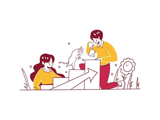 Finanse biznesu uzyskaj zysk wzrost w hossy rosną ręcznie rysowane styl projektowania ilustracji wektorowych