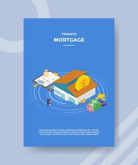 Finanse hipotecznych ludzi stojących przed domem monety pieniądze wykres