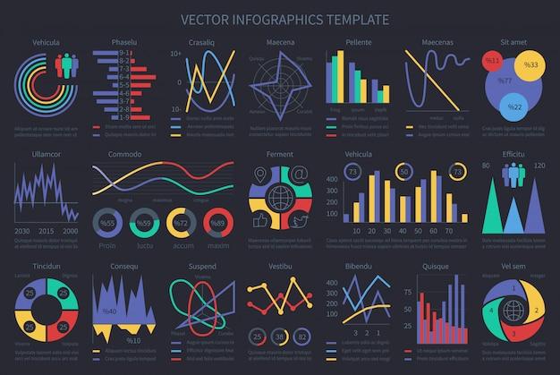 Finanse infografiki szablonów, wykresów, diagramów i elementów chronologicznych. wektorowy inkasowy biznesu finanse diagram, mapa i wykres ilustracja