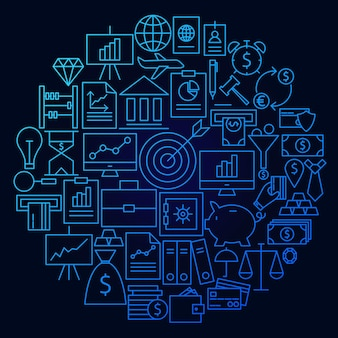 Finanse linia ikona koło koncepcja. ilustracja wektorowa obiektów pieniędzy i banku.