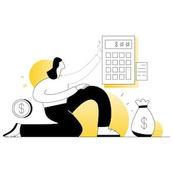 Finanse podatek biznes wektorów ilustracja płaska linia
