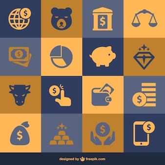 Finansów i pieniędzy płaskie elementy
