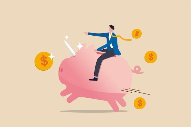 Finansowa, biznesowa okazja do odniesienia sukcesu w konkurentach z czerwonego oceanu lub zwycięzcy funduszu wspólnego inwestowania lub koncepcji inwestycji w akcje, inwestor-biznesmen jeżdżący na różowej skarbonce z rogiem jednorożca i monetami dolarowymi.