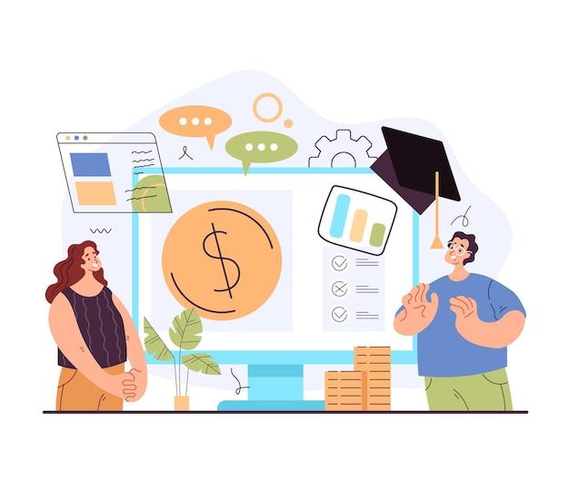 Finansowa ekonomiczna biznesowa koncepcja konsultacji szkolenia edukacji umiejętności czytania i pisania
