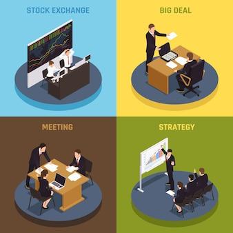 Finansowanie inwestycji koncepcja 4 ikony izometryczny z menedżerami spełniającymi strategię kontraktów giełdowych