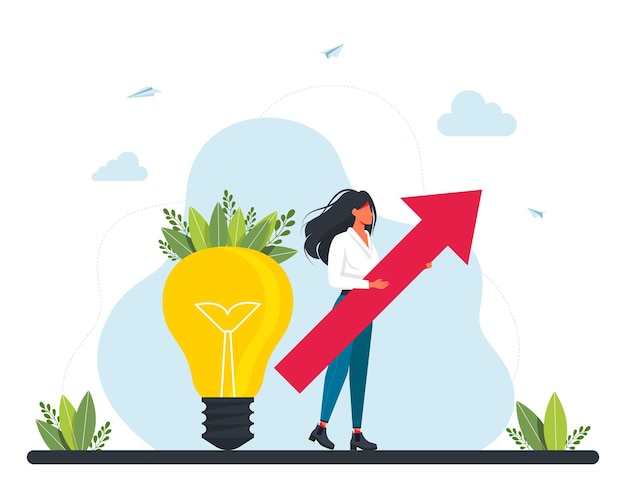 Finansowanie społecznościowe, inwestowanie w pomysł lub zakładanie biznesu. maleńka bizneswoman z dużą czerwoną strzałką stoi obok dużej żarówki. inwestycja marketingowa.plan biznesowy, zarządzanie finansami.ilustracja wektorowa