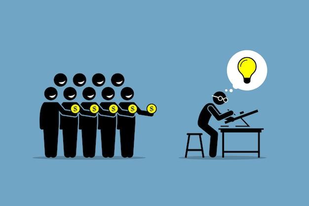 Finansowanie społecznościowe lub finansowanie społecznościowe. grafika przedstawia zbieranie pieniędzy od ludzi poprzez pracę nad projektem lub przedsięwzięciem, które ma dobry, błyskotliwy pomysł.
