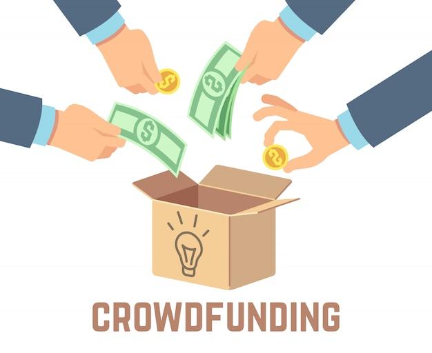 Finansowanie społecznościowe. pieniądze z wkładu publicznego, przedsięwzięcie darczyńcy i crowdsourcing