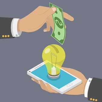 Finansowanie społecznościowe płaski izometryczny wektor koncepcja.