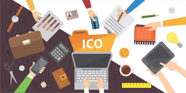 Finansowanie społecznościowe startupów it. ilustracja blockchain ico.